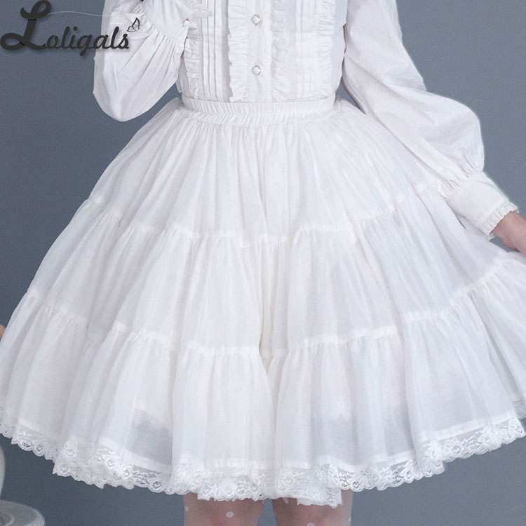 2018 Gothic Women's Black/White Skirt Short Organza Petticoat with Lace Trimming