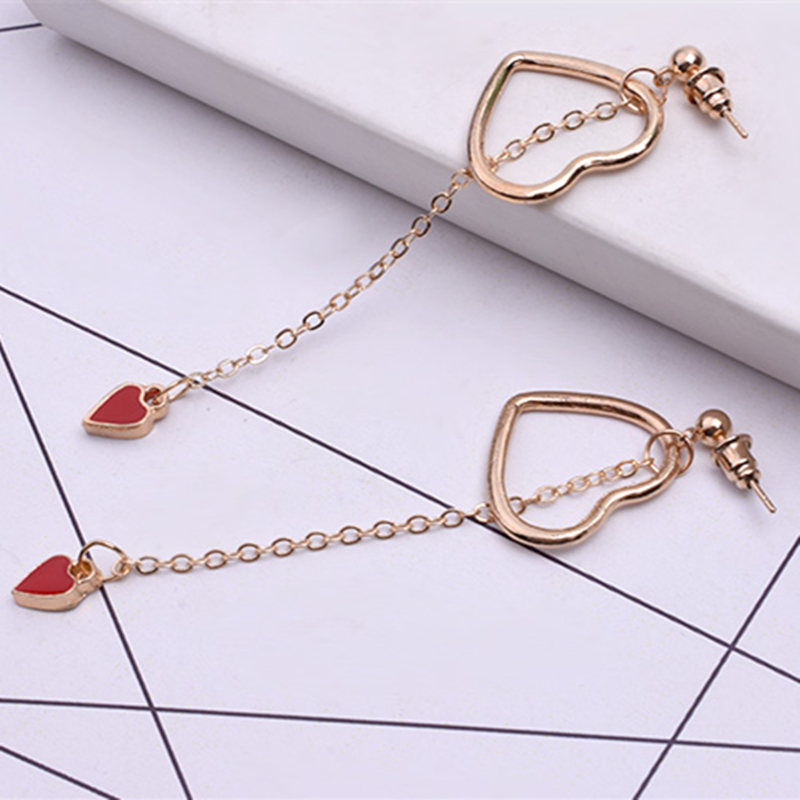 E0382 New Arrival Red Love Heart Drop Earrings For Women Girls Korean Style Gold Color Long Tassel Statement Earrings Best Gift