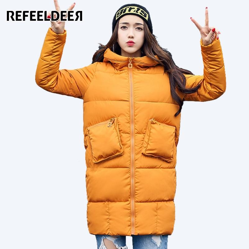 Refeeldeer Hooded Thick Warm Winter Coat Women 2017 Medium-Long Cotton Padded Parkas Women's Winter Jackets Female Loose Coat