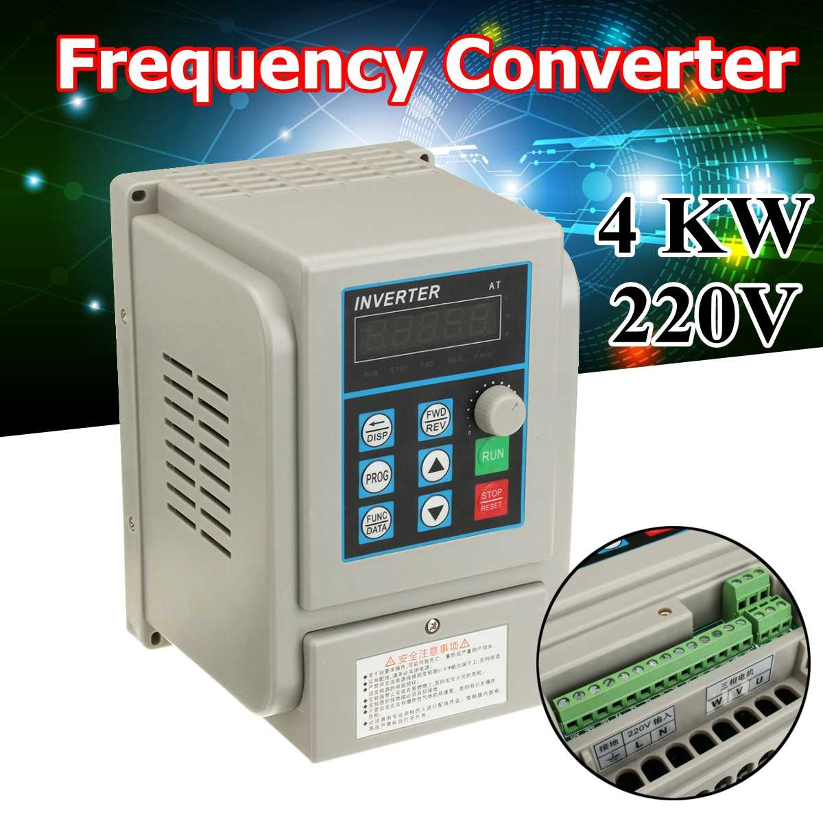 AC 220V Frequency Converter 4KW Variable Frequency Drive Converter VFD Speed Controller ConverterAC 220V Frequency Converter 4KW Variable Frequency Drive Converter VFD Speed Controller Converter