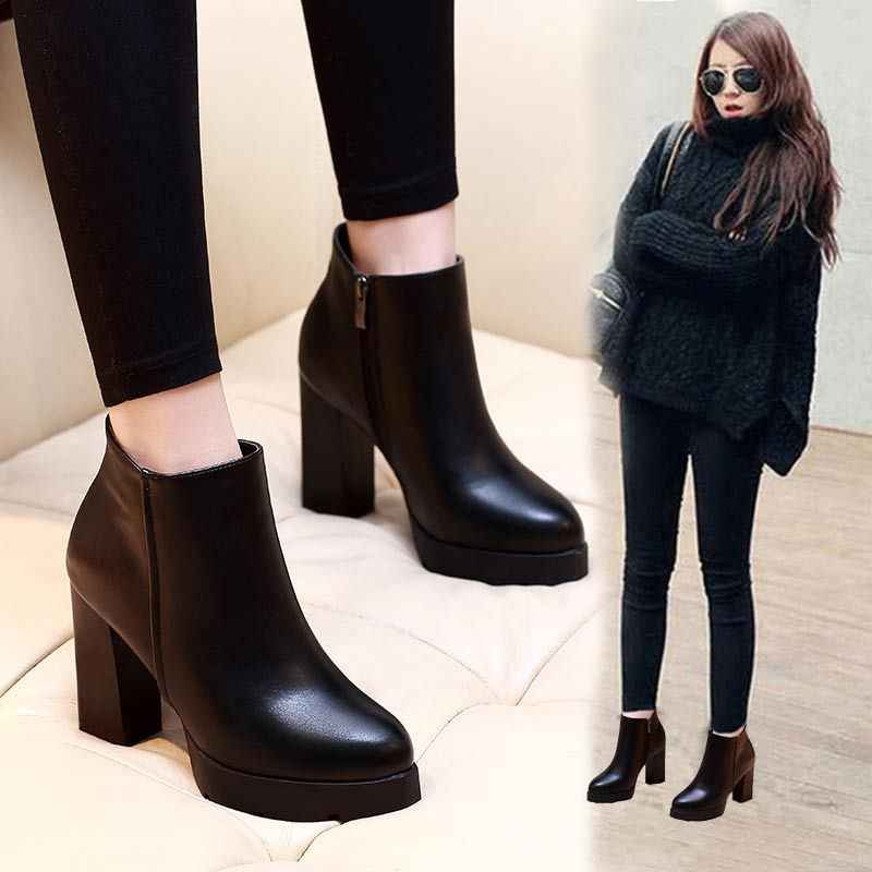 Women Ankle Boots 2019 genuine leather Martin Black Women High Heels Boots Platform Sexy Ladies Pumps Boots Shoes