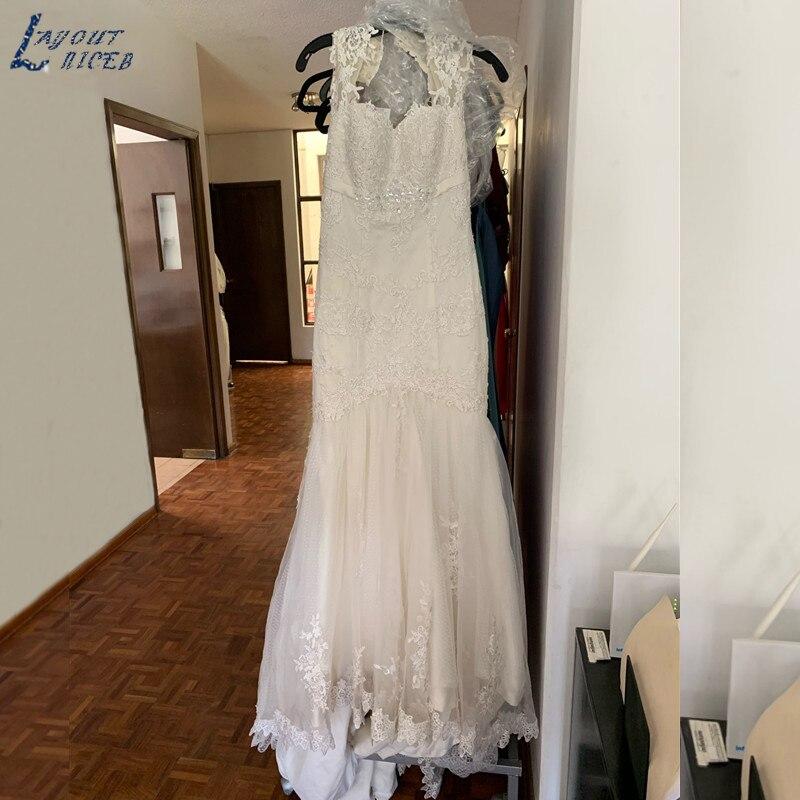 ZL1048 New Elegant Lace Applique Tulle Beaded Belt Mermaid Wedding Dresses Bridal Gown Celebrity vestido De