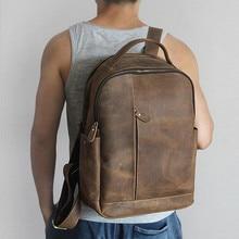 Männer 100% Echtem Leder Laptop Rucksäcke Männlich Jahrgang Casual Rucksäcke männer Halter Reisen 14 zoll 15,6 zoll Computer Schultasche taschen