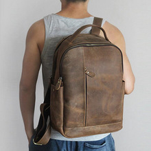 Men 100% Genuine Leather Laptop Backpacks Male Vintage Casual Backpacks Men's Travel Holder 14inch 15.6inch Computer School Bags цена