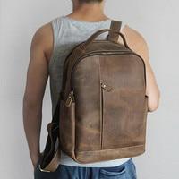 Men 100% Genuine Leather Laptop Backpacks Male Vintage Casual Backpacks Men's Travel Holder 14inch 15.6inch Computer School Bags