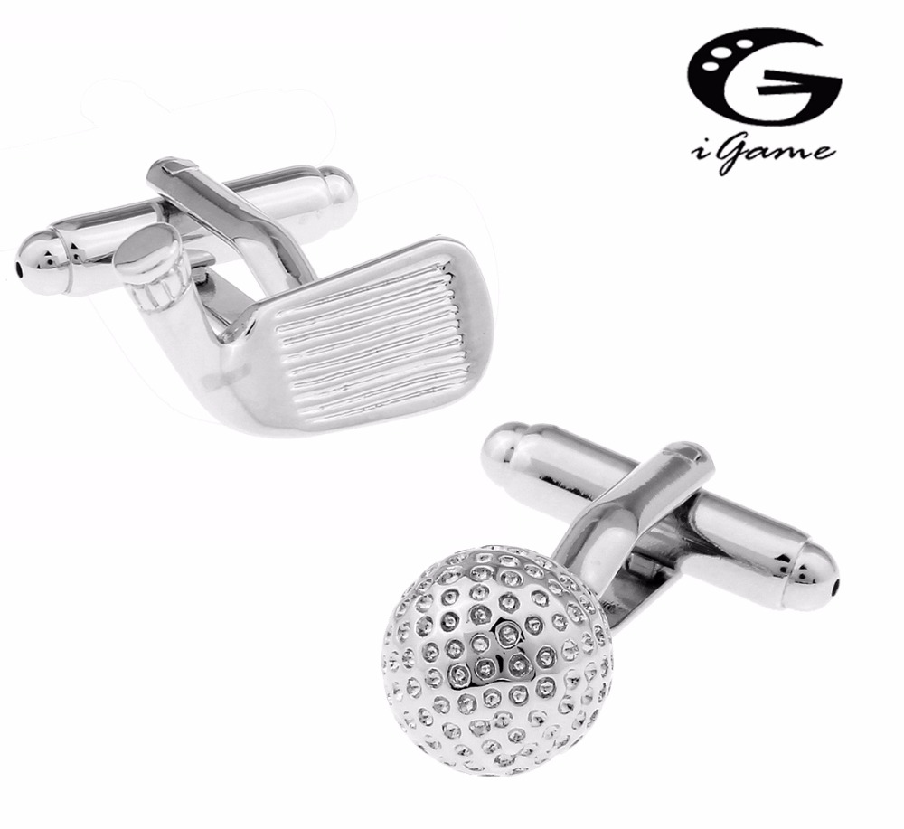 iGame Golf Club Cuff Links For Men Quality Brass Material Free Shipping igame gamepad cuff links 3 styles option funny joystick design free shipping
