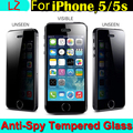 100% Top Quality Premium Real Tempered Glass Privacy Anti Spy Screen Protector Protective Guard Pelicula Film sFor iPhone 5 5s