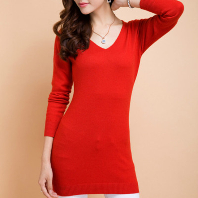 2017 NEW V neck Cashmere Sweater dress Ms. long section package ...
