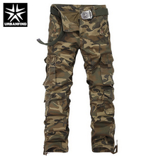 URBANFIND Military Men Camouflage Pants Size 29-38 Multi-Pockets Mid-Rise Design Man Casual Cargo Trousers no belt