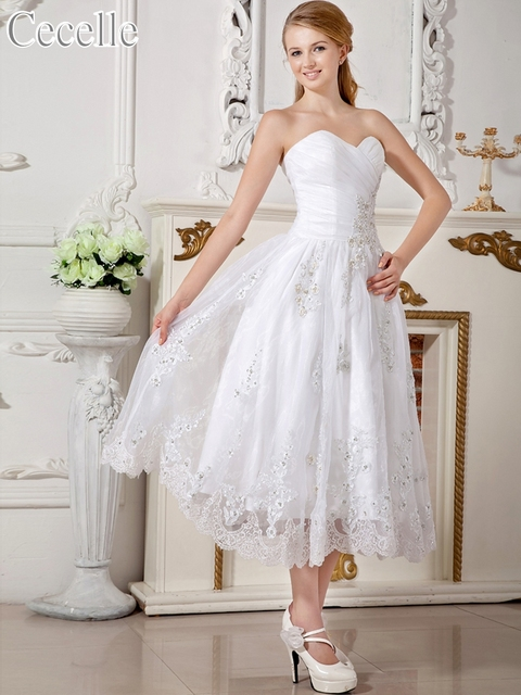 504cf17bf27e 2017 New Short Vintage Tea Length Informal Wedding Dresses Beaded Lace  Appliques Sweetheart Reception Bridal Gowns Custom Made