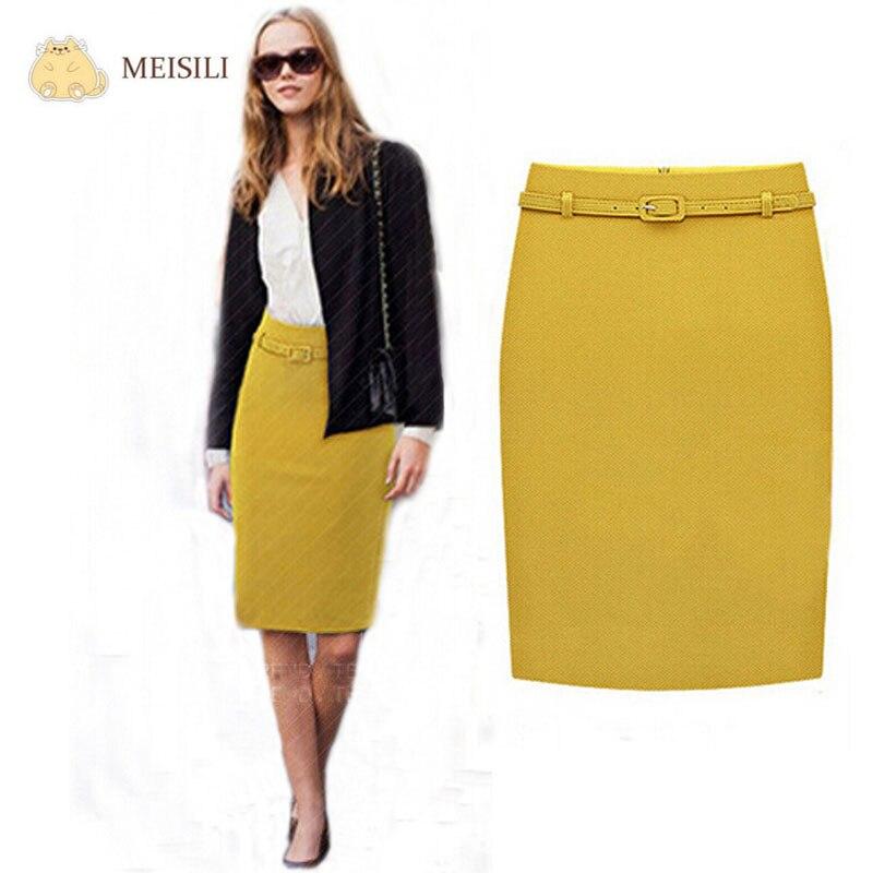458c2ddc9 € 14.41 |Faldas largas de verano para mujer, faldas formales para negocios,  hasta la rodilla, OL, con cinturón, Saia S XXL en Faldas de Ropa de ...