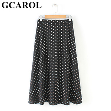 GCAROL 2019 Spring Summer Women Elegant Polka Dot Long Skirt Big Hem Width Polye