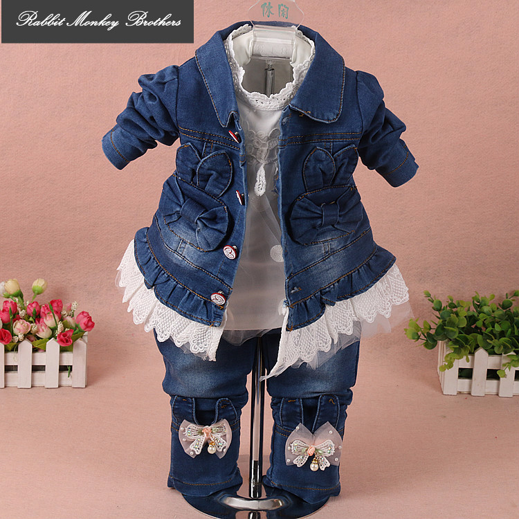RMBkids Girls rabbit denim three-piece suit Baby out clothes Infant Girl Autumn Set Baby denim suit 1-3 years old cowboy jacket children s clothing spring high quality cowboy three piece suit of the girls flowers fashion baby suit denim set for infants
