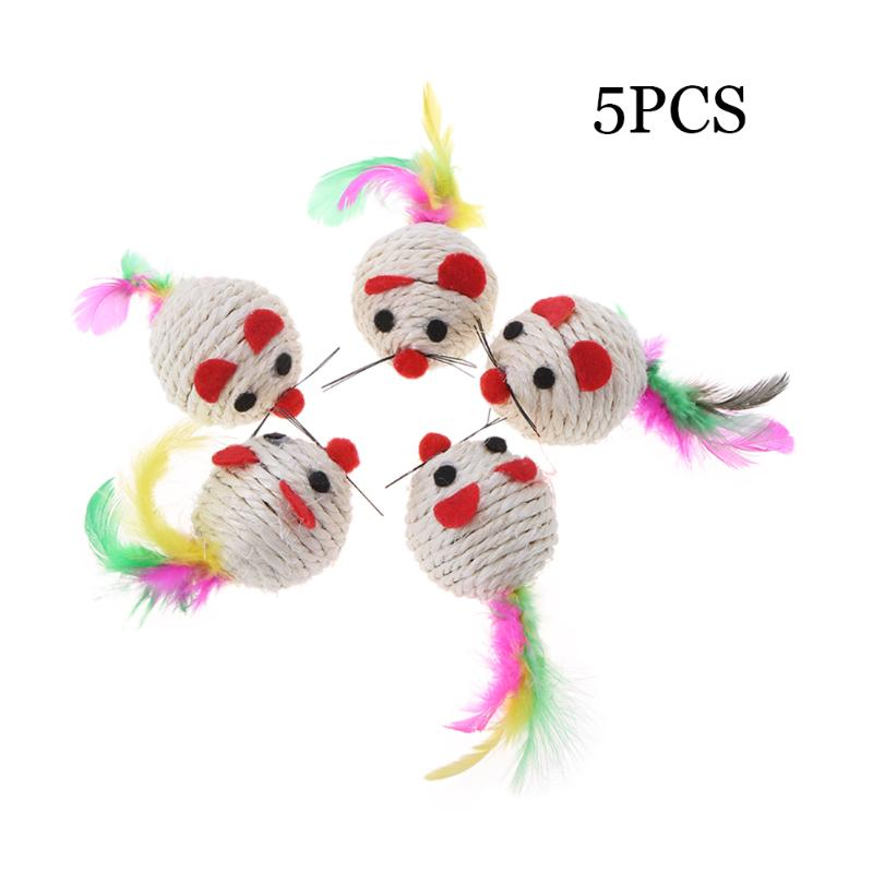 5pcs Sisal Mouse Cat Toys Cat Colorful Interactive Ball Toys Sisal Mouse Cat Toys Play Chewing Rattle Scratch Catch