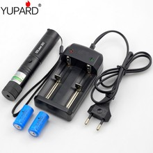 Best Buy yupard 1000 meters long-range Green Laser Pointer green light pen flashlight+2* 400mAh 16340 Battery+Charger