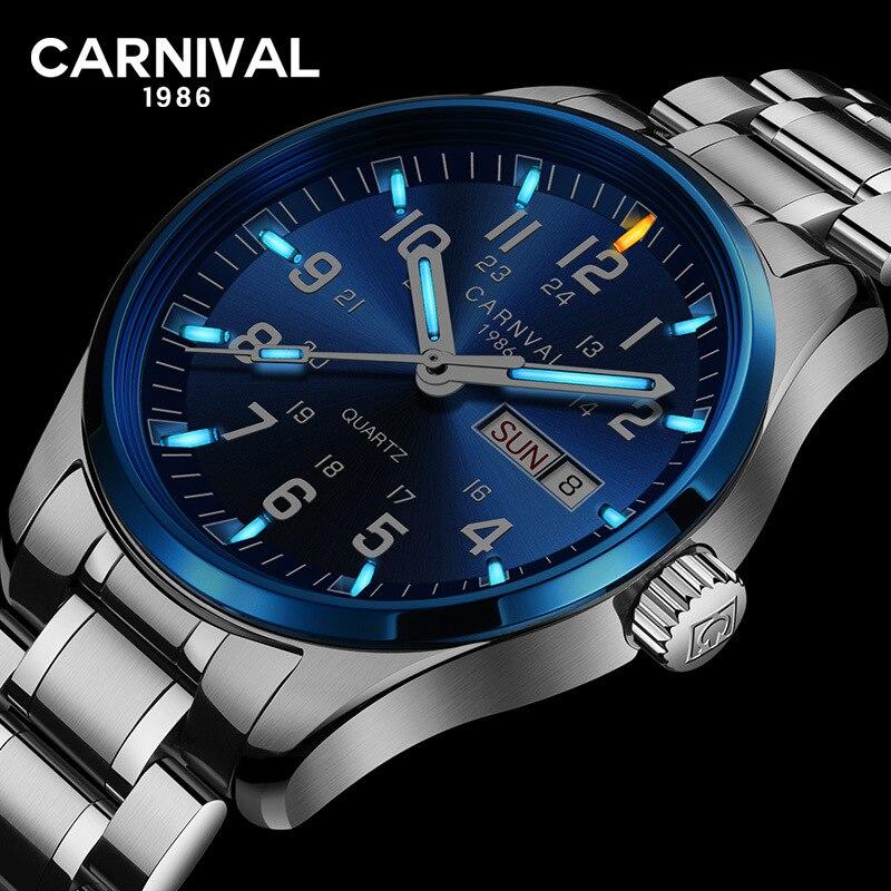 CARNIVAL Fashion Tritium gas Self Luminous Watch men High end Quartz Wristwatch with Swiss movement Week Date Relogio masculino