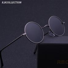 R.BCOLLETION Vintage Style Round Sunglasses Anti-UV Polarized Metal Mirror Frame Sun Glasses Brand Design Unisex Sunglasses 801 anti uv metal frame crossbar flat lens sunglasses