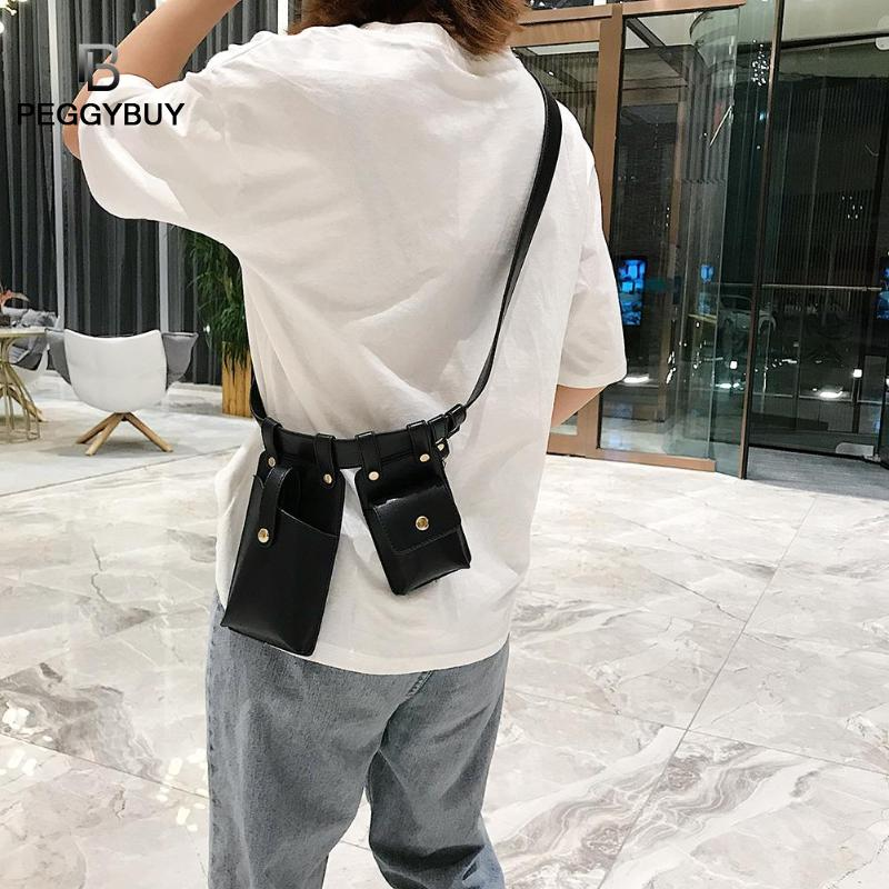 Punk Letter Print 2 Women Waist Fanny Packs Keychain PU Leather Chest Bags Hip-Hop Bum Pouch Women Belt Bag Chest Packs