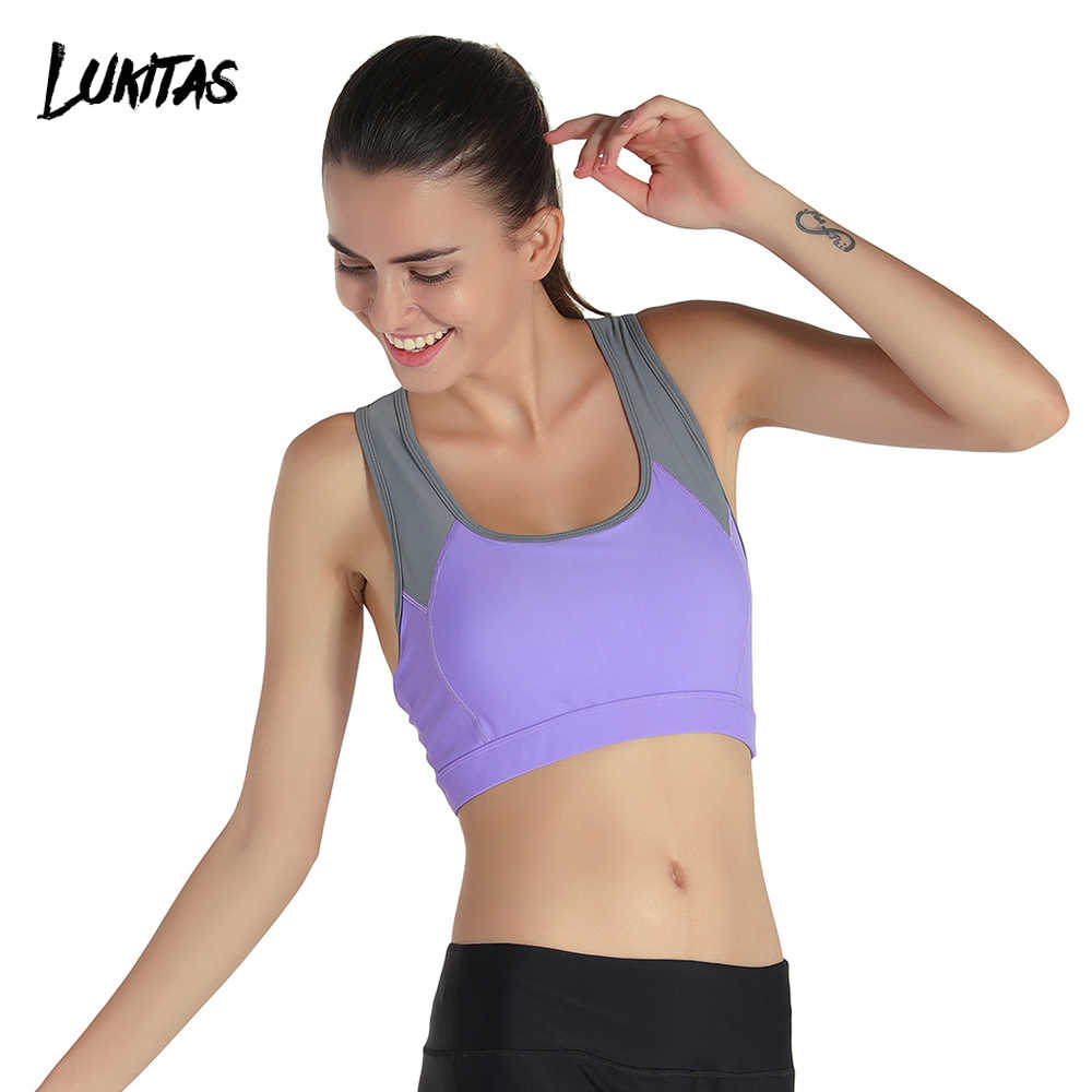 LUKITAS Fitness Women Sport Bras Sexy Push Up High Impact Padded Splice Quick Dry Yoga Running Gym Workout Female Bra Vest Tops