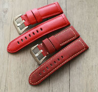 The New Upscale red 24mm WatchBand Calf Genuine Leather Watch Strap For Panerai PAM111 Men watches Straps Stainless steel buckle