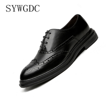 SYWGDC 2019 Four Seasons Pointed Toe Men Formal Business Brogue Shoes Luxury Men's Dress Shoes Male Casual Leather Wedding shoe