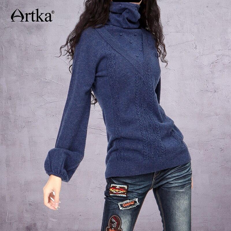 ARTKA damska w stylu Vintage styl wdzięku Slim swetry z golfem stałe wełny kwiaty pełne latarnia rękaw zimowy sweter YB15435D w Pulowery od Odzież damska na  Grupa 1