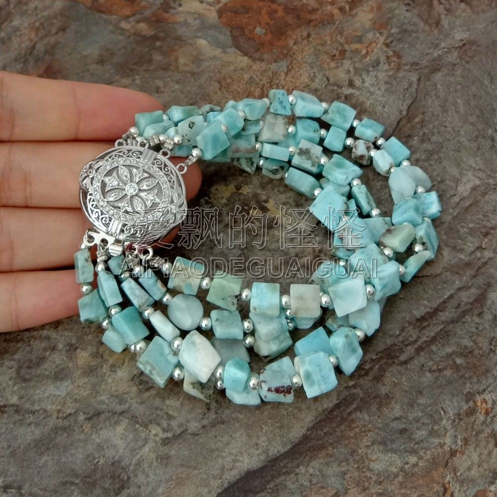 B051117 8 5 Strands Natural Square Blue Larimar Bracelet