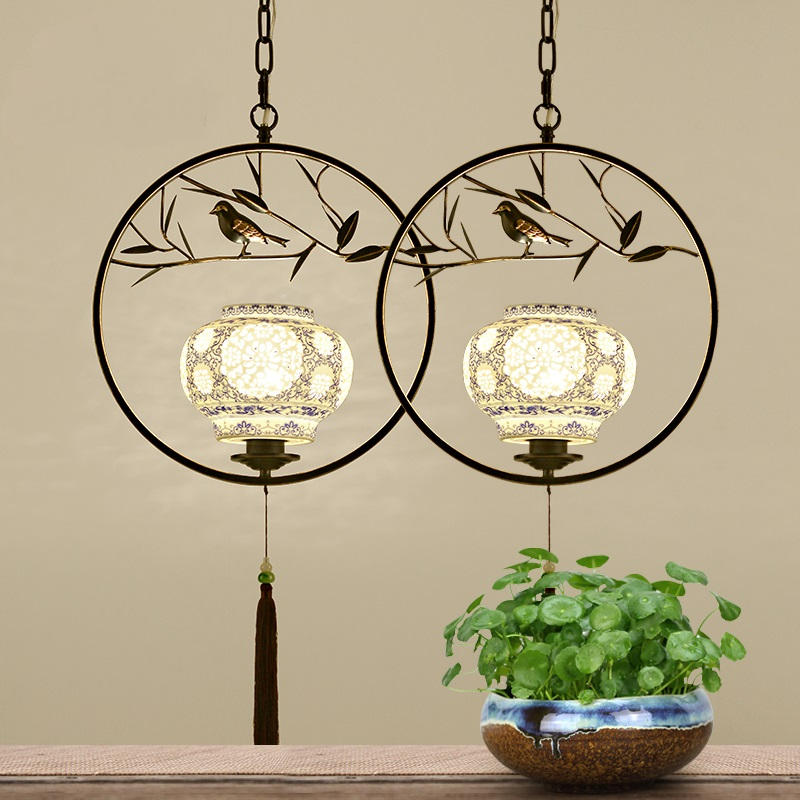 Chinese Classical culture pendant lights Study living room bedroom creative personality Bird tree iron +ceramic pendant lamp chinese style iron rectangula pendant lamps creative personality study the living dining room bar lights za628 zl33 ym