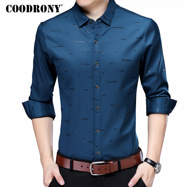 f61f4c802 COODRONY Casual Shirts Plus Size Long Sleeve Shirt Men Dress Brand Clothes  2018 Autumn New Arrivals Cotton Camisa Masculina 8743