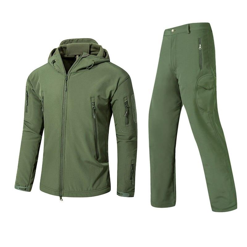 Winter Autumn Waterproof Shark Skin Soft Shell Jacket Set Men Tactical CP Camouflage Jacket Coat Camo