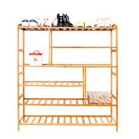 6 layer Portable Bamboo Shoe Rack Shoes Organizers Boots Storage Rack SKU28930746