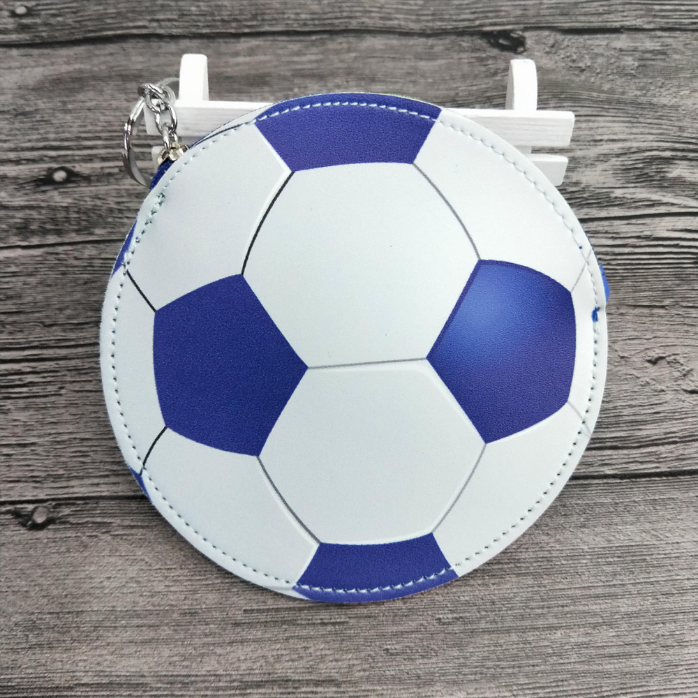 Sports & Entertainment Humor Football Outdoor Cash Bags Boys Girls Designer Coin Purse Pu Soccer Baseball Shape Bag Wallet With Key Chain 13*13cm