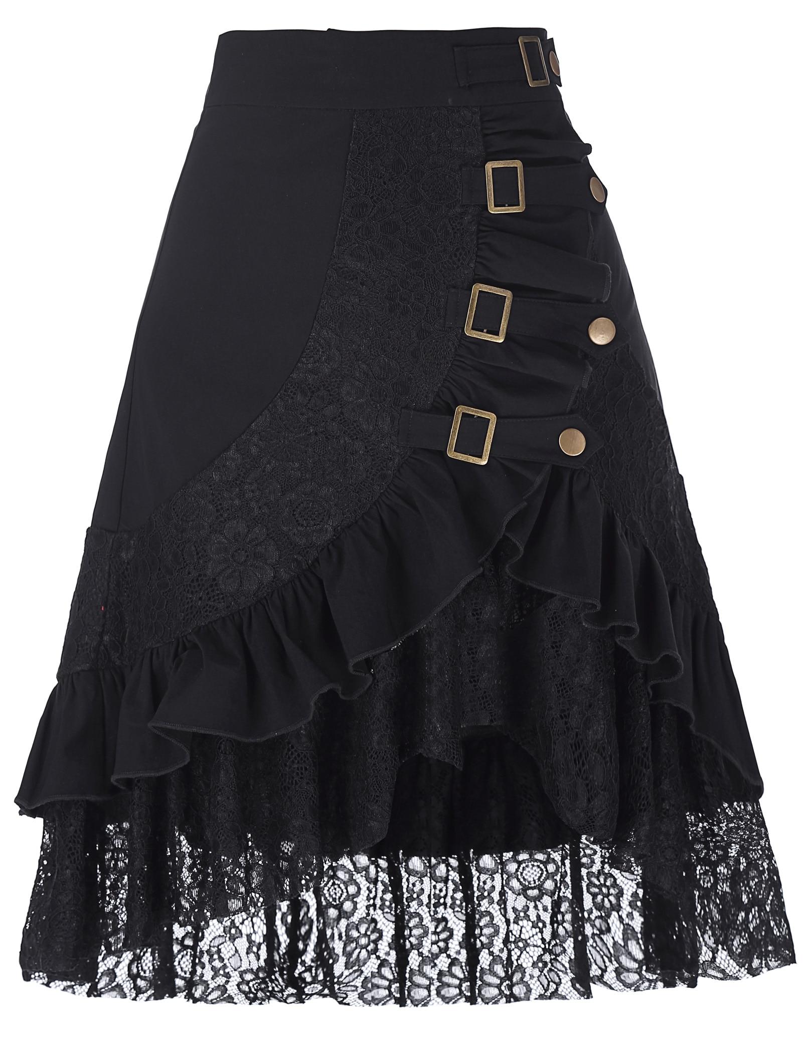 Vintage Women Steampunk Gothic Clothing Gypsy Hippie Skirt Femme Falda Corta medieval Harajuku sexy rock black lace Metal skirt