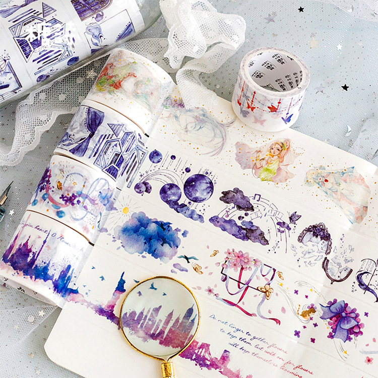 Freedom Cloud Castle Gilding Washi Tape Adhesive Tape DIY Scrapbooking Sticker Label Masking Tape