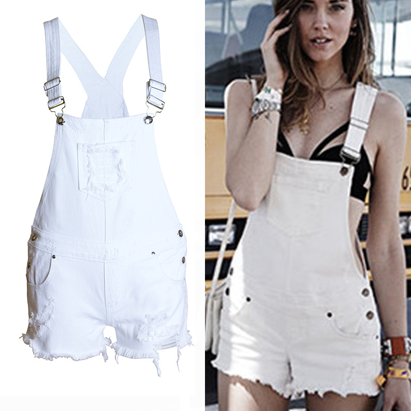 7dd6f77dc2a 2018 Ladies Denim Overalls Playsuits Ripped Hollow Out Jeans Short Women  Jumpsuit Sexy Rompers Combinaison Short Femme  160404