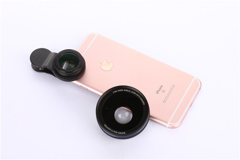 Cell Phone Lenses 0.45X/0.6X Super Wide Angle 12.5x Macro Lens For iPhone 6 Plus 7 5S xiaomi 5 Samsung S7 Edge Camera lens Kit 11
