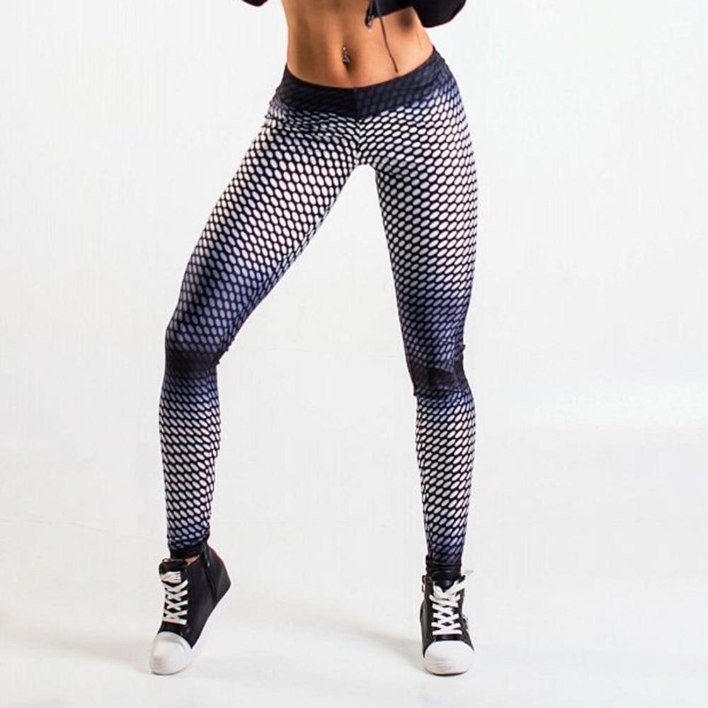 Push Up Oval Mesh Pattern Digital Printing Sportswear Leggings Polyester Women Sporting Casual Skinny Leggings