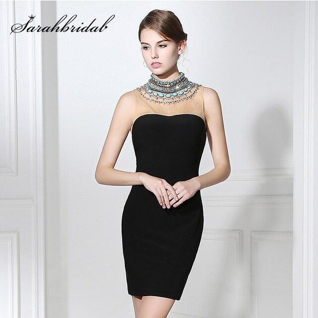 50a2a0bb62119 2017 ليتل فستان أسود قصير فساتين السهرة الرقبة العالية مع فاخر الديكور  كريستال مثير فتح عودة