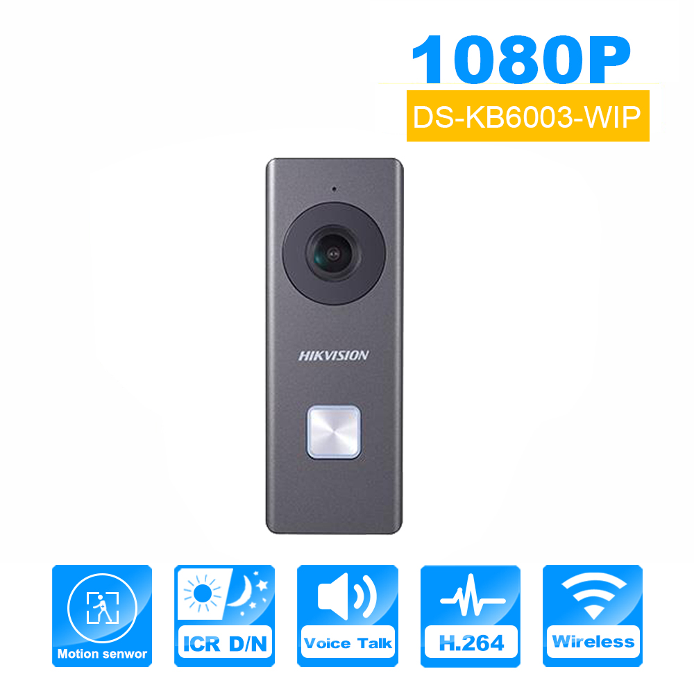Hik vision Wifi Door Bell DS-KB6003-WIP With Camera support Motion Detection Two way Audio HIK-Connect Wireless Door Phone hik ip camera ds 2cd4026fwd ap ultra low light 128gb onvif rj45 intrusion detection face detection recognition