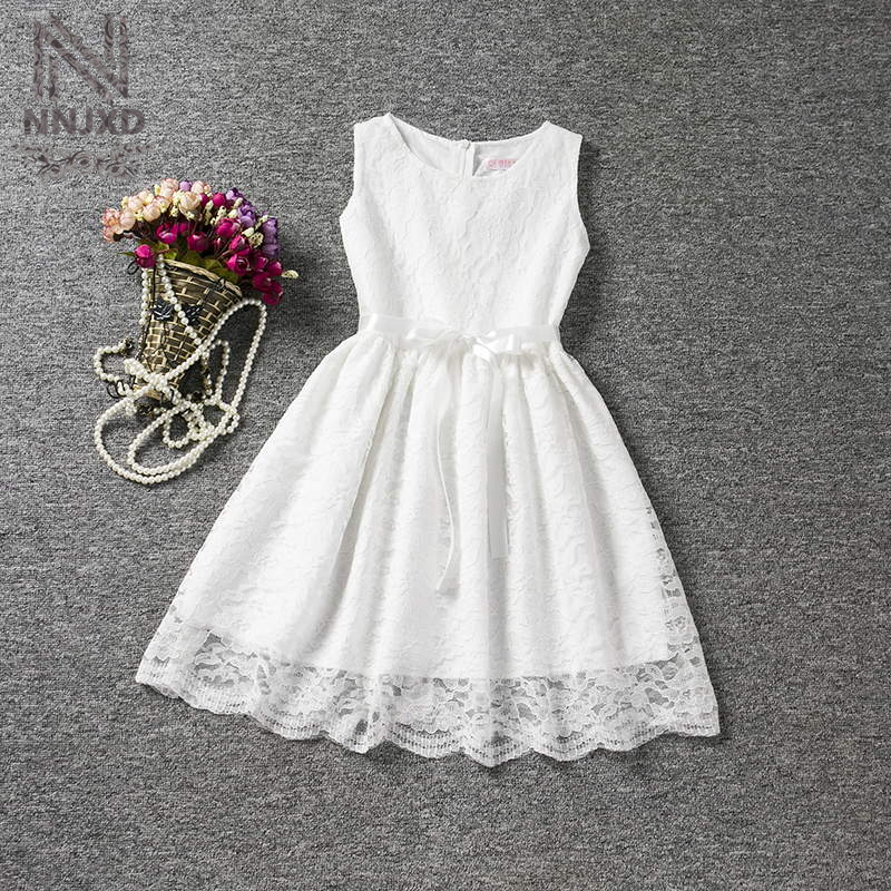 Vintage Infant Princess Lace White Wedding Dress Children