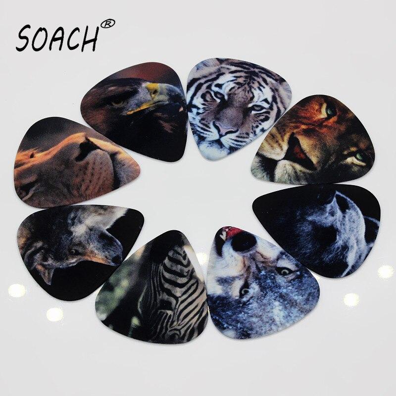 SOACH 10pcs 0.71mm Guitar Accessries High Quality Two Side Earrings Pick DIY Design Animal Pick Guitar Picks