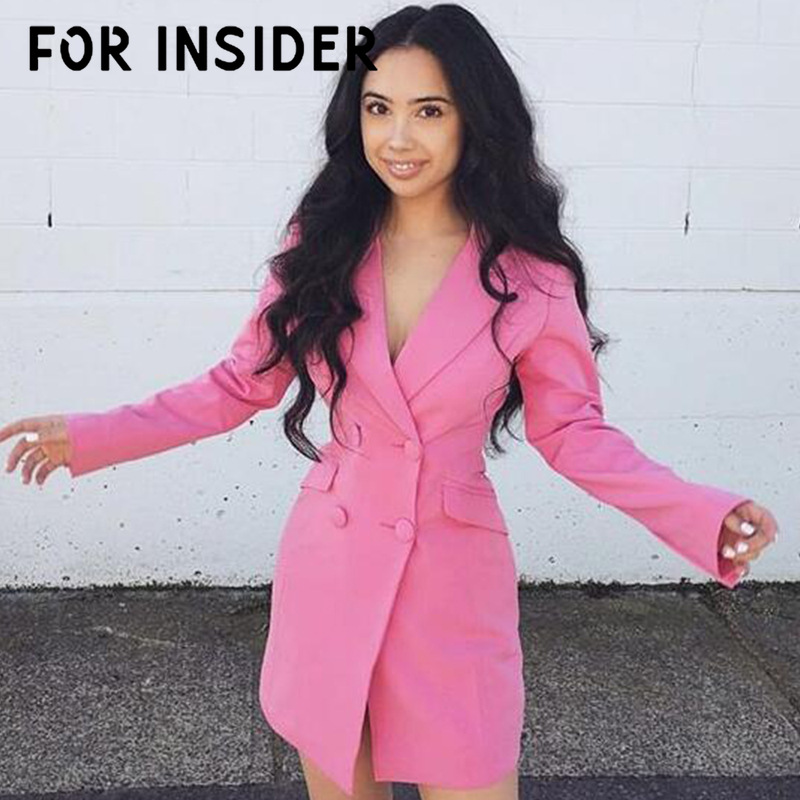 For Insider Office work sexy long white blazer Women double button casual black blazer dress Autumn winter pink jacket blazer