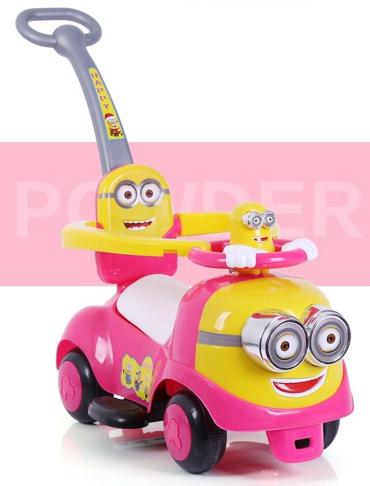 Новая машинка с рулем с миньонами для детей с музыкальной лентой push скутер на четырех колесах игрушка shilly car - 2