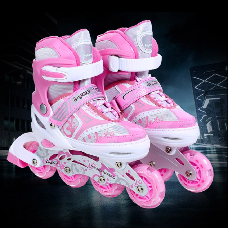L-pard 4wheels roller skates aluminum alloy heel button four yards adjustment children roller skating with protective gear children roller sneaker with one wheel led lighted flashing roller skates kids boy girl shoes zapatillas con ruedas