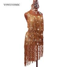 Zawód taniec latynoski sukienka kobiety dorosły Samba kostium złoty frędzel konkurs wydajność ubrań sukienki latynoskie