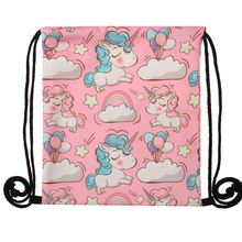 Colorful Unicorn Printed Drawstring Bag