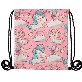 Jom Tokoy Fashion Drawstring Bag  3D Printing Unicorn Mochila Feminina Drawstring Backpack Women daily Casual Girl's knapsack 29