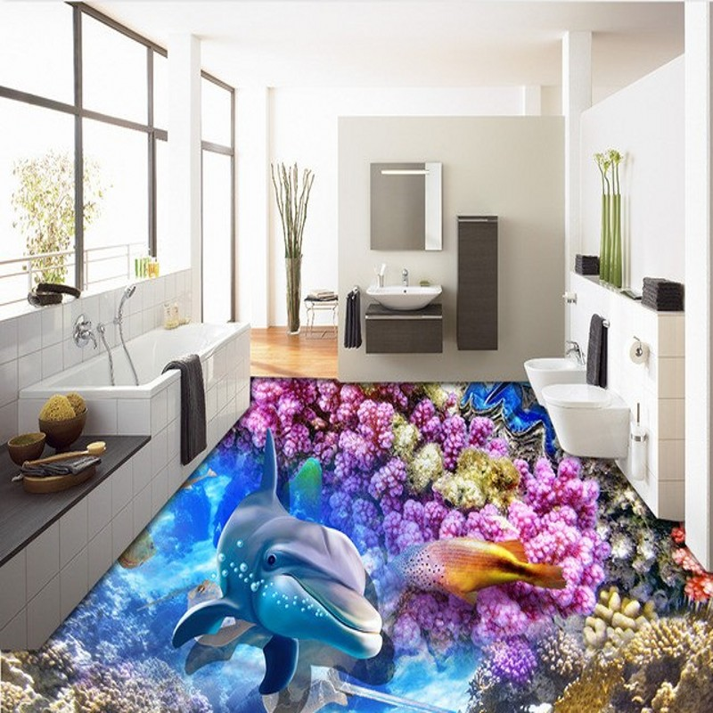 ФОТО Free Shipping 3D HD beautiful underwater world floor wallpaper bedroom living room coffee house flooring mural
