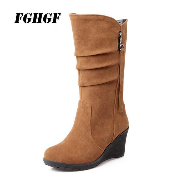 New fall and winter boots with wedges  High heels for ladies and women  Tassel boots Leisure to keep warm The snow boots 28-52