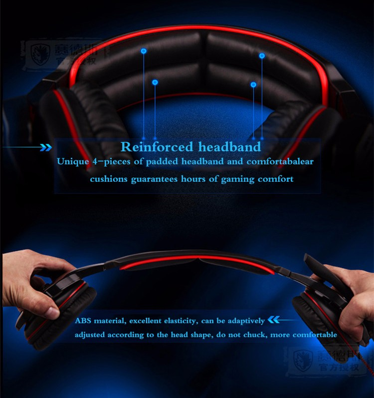Sades SA-903 7.1 Surround Sound channel USB Gaming Headset Wired Headphone with Mic Volume Control Noise Cancelling Mic Earphone (3)